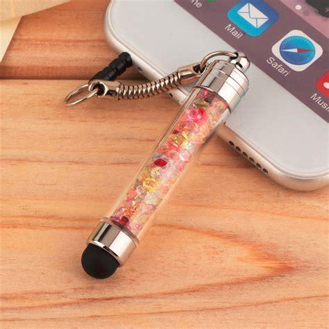 Aksesoris Handphone Rhinestone Mini Stylus Dust stylus touch screen pen stylus 3 5mm dust cap 2 in 1 for iphone tablet