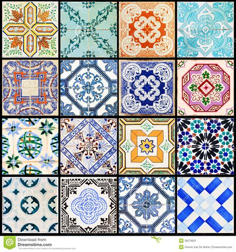 beautiful tiles lisbon tiles collage black stock image image of