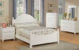 Full Bedroom Furniture Cottage Style White Finish Wood Kids Full Panel Bedroom