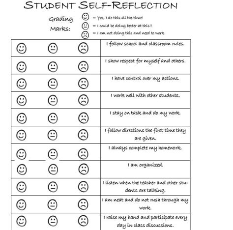 student behavior self reflection student self reflection worksheets resultinfos
