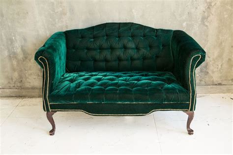 Elegant Green Velvet Loveseat Sofa