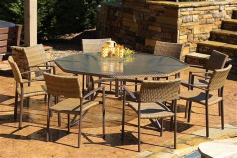 All Weather Wicker Patio Dining Sets Meridian All Weather Wicker Patio Dining Set Terracotta Seats 8 All Weather Wicker Dining