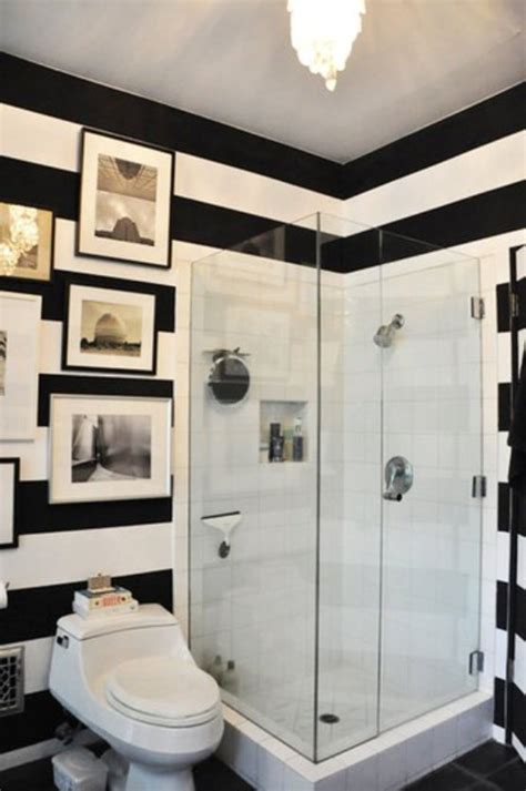 striped bathroom to da loos black white striped walls