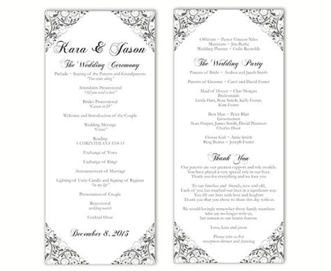 Wedding Program Template Diy Editable Text Word File Download Program Gray Silver Program Floral Word Document Wedding Program Template