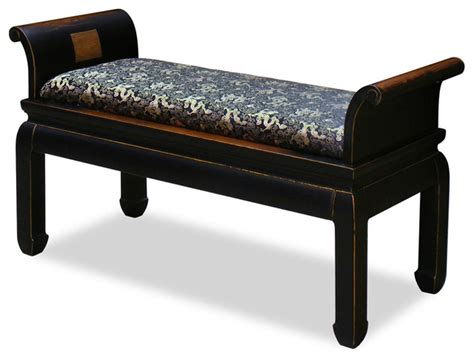 oriental bench elmwood zhou yi bench asian upholstered benches by