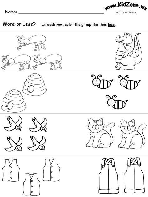 more or less worksheets how to teach more and less math kindergarten and worksheets