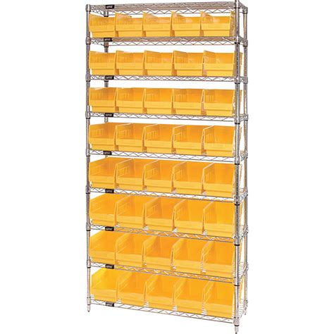 quantum storage 40 bin chrome wire shelf bin system 36in