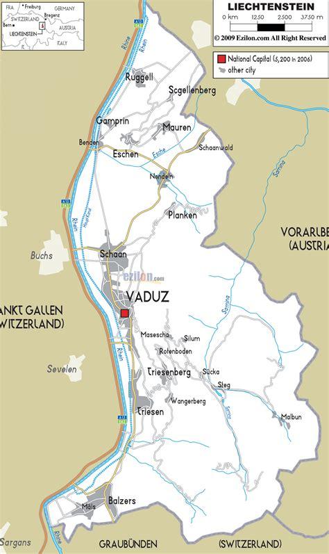 where is liechtenstein on a map liechtenstein kapital karte