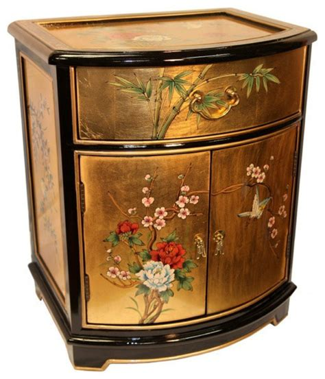 oriental accent tables oriental end table painted bird and flower gold leaf