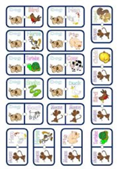 printable animal dominoes english worksheets the animals worksheets page 61