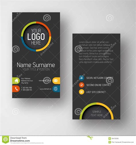 free flat card templates modern vertical business card template with flat user