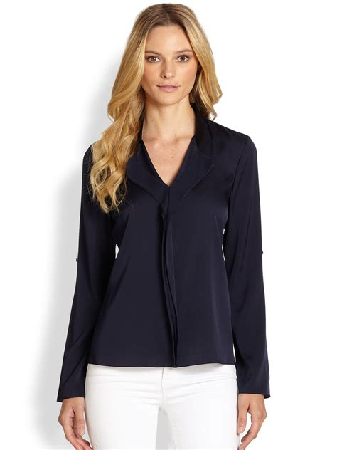 Navy Blue Silk Blouse by Navy Blue Silk Blouse Clothing