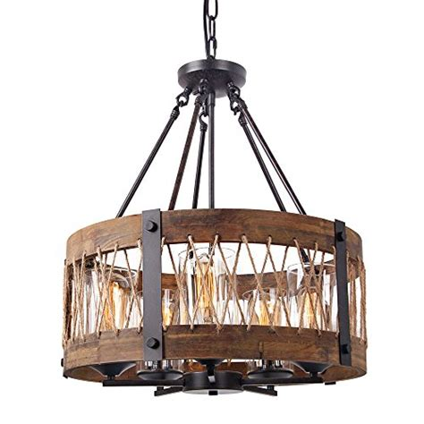 Anmytek Round Wooden Chandelier with Clear Glass Shade
