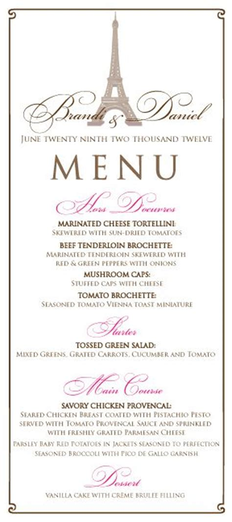 themed dinner menu themed wedding menu in pink and brown