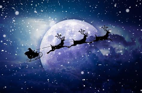 wallpaper santa claus chariot moon snowfall reindeer chariot hd celebrations christmas