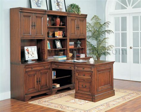 Warm Cherry Executive Modular Home Office Furniture Set Home Office Furniture