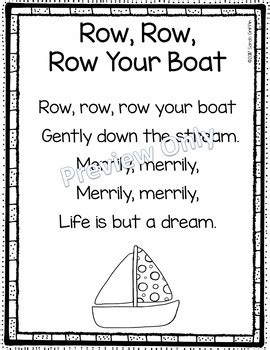 row your boat kindergarten row row row your boat printable nursery rhyme poem for