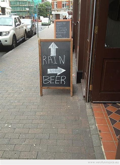 funny picture fun sign  rain  beer funny bar