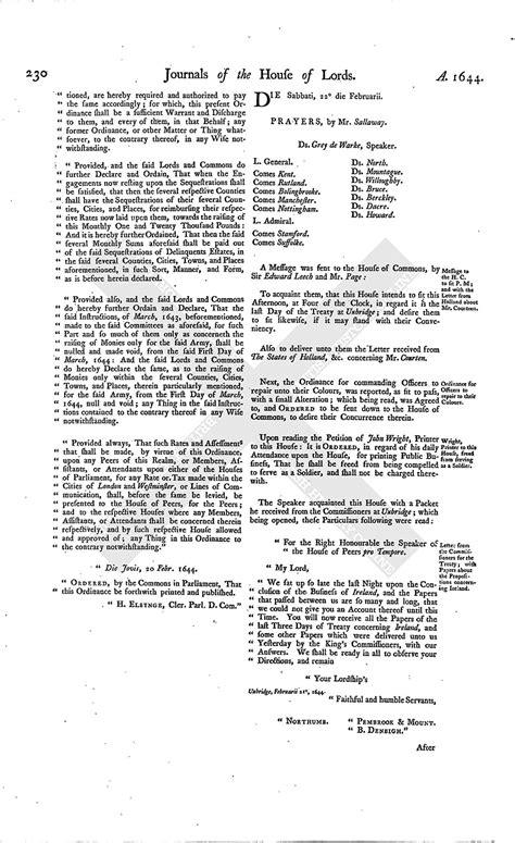 mla letter format house of journal volume 7 22 february 1645 1767