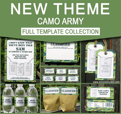 free printable army party decorations army birthday party invitations camo party decorations