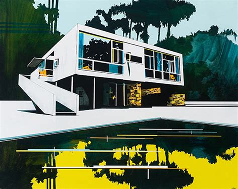 trippy paintings of modern architecture saturated with