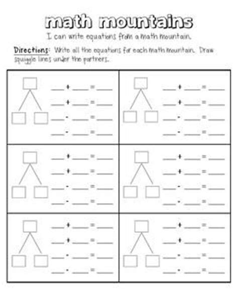 Math Mountain Worksheets by Math Mountains Teaching Facts And