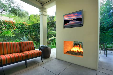 Outdoor Two Sided Fireplace by Outdoor Modern Two Sided Fireplace By Designed By Gary