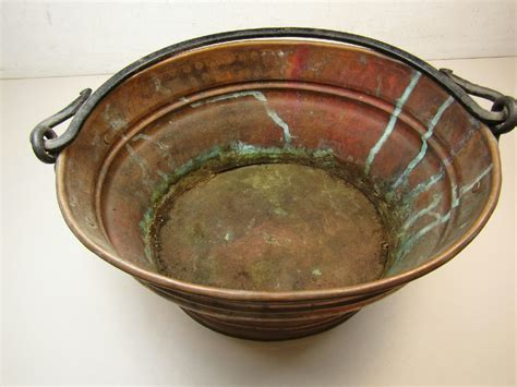 Parcel Pot Oval large oval solid copper planter pot w handle made in turkey auctions buy and sell