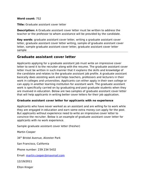 cover letter for graduate student assistant docoments