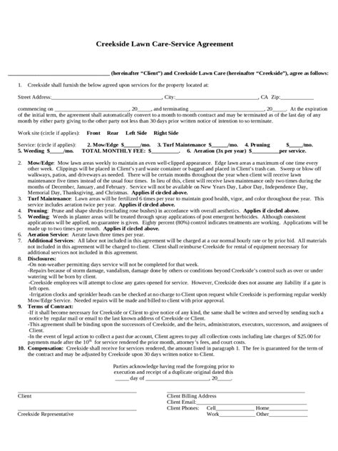 lawn care contract template lawn care contract template 2 free templates in pdf