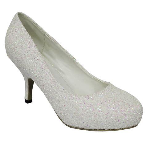 Mid Heel Wedding Shoes by Glitter Diamante Kitten Low Mid Heel Platform