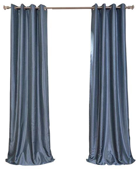 Faux Silk Dupioni Curtains Provencial Blue Grommet Blackout Vintage Textured Faux Silk Dupioni Curtain Contemporary