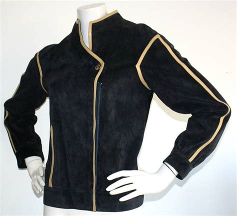Vest Army Gucci vintage gucci leather jacket navy blue suede motorcycle