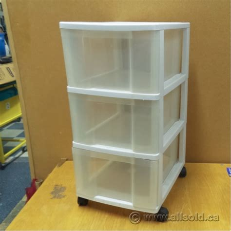 Plastic Rolling Drawers by Plastic White 3 Clear Drawer Rolling Storage Allsold Ca