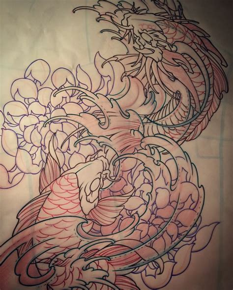 koi dragon sleeve tattoo designs best 25 koi ideas on