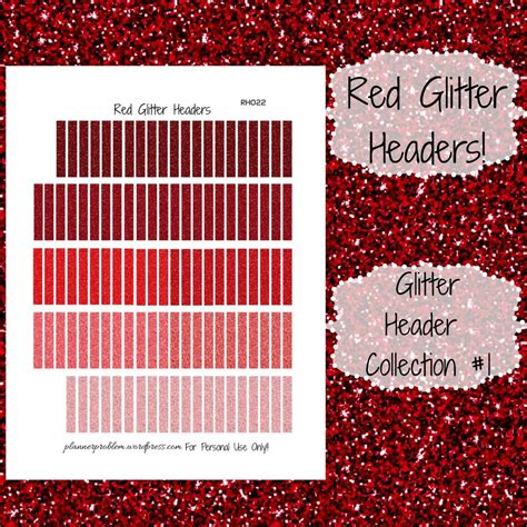 printable glitter stickers red glitter headers glitter collection 1 free