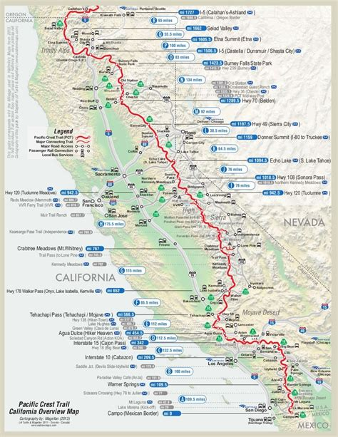 pct oregon map pacific crest trail map hiking cing