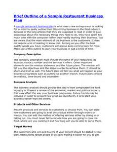 Restaurant franchise business plan