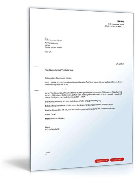 mustervorlage kuendigung kreditkarte k 252 ndigung rechtsschutzversicherung muster vorlage zum