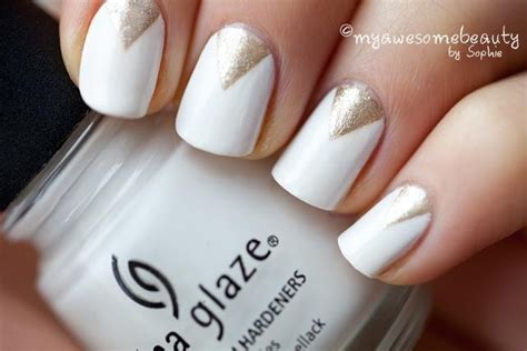 triangle pattern on nails nails gold triangles on white nailed pinterest