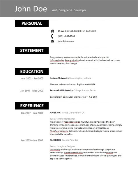 simple resume template microsoft word 10 best images of easy resume templates to use simple