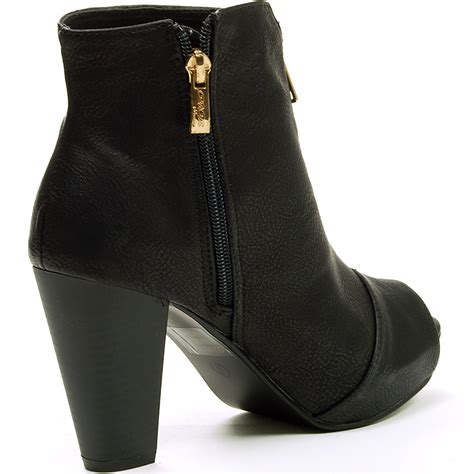 Golden Cross Chunky Heels Import 2 womens ankle boots chunky block heel bootie gold zipper