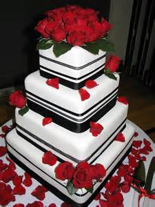 decadent designs fondant black red wedding cake