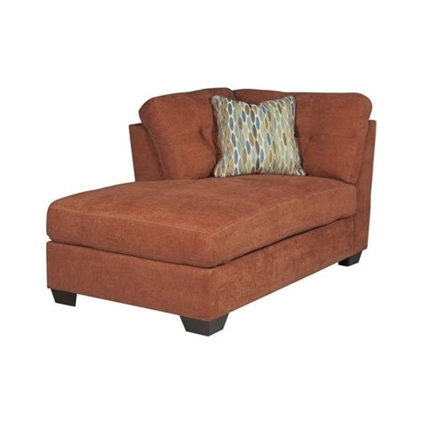 corner chaise lounge chair ashley delta city left corner chaise lounge in rust 1970116
