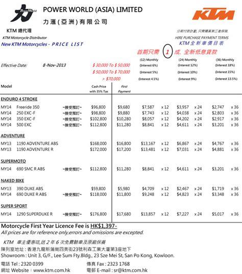 Ktm Duke Price List Ktm 最新價目表 更新於2013 11 08