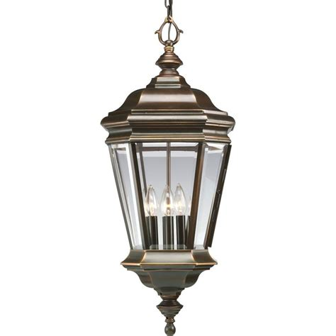 Outdoor Suspended Lighting Progress Lighting Collection 4 Light Rubbed Bronze Outdoor Hanging Lantern P5574