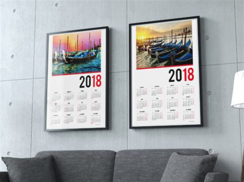 2018 Poster Wall Yearly Calendars One Page Photo Calendars A2 A1 A0 Calendar Design Template 2018