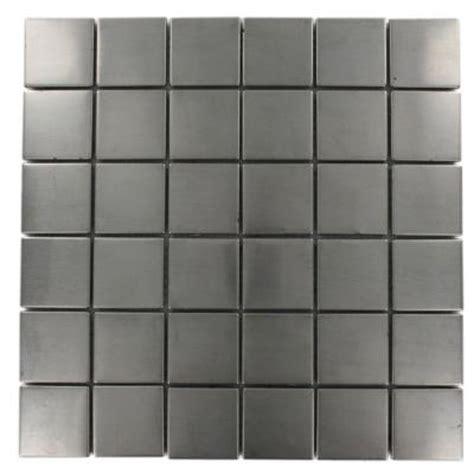 Splashback Tile Stainless Steel 12 In X 12 In X 8 Mm Stainless Steel Tile Backsplash Home Depot