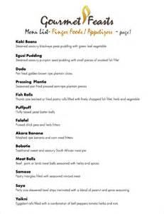 Finger Food Buffet Ideas by Gourmet Feasts Menu List