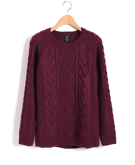 maroon knitted jumper maroon cable knit sweater